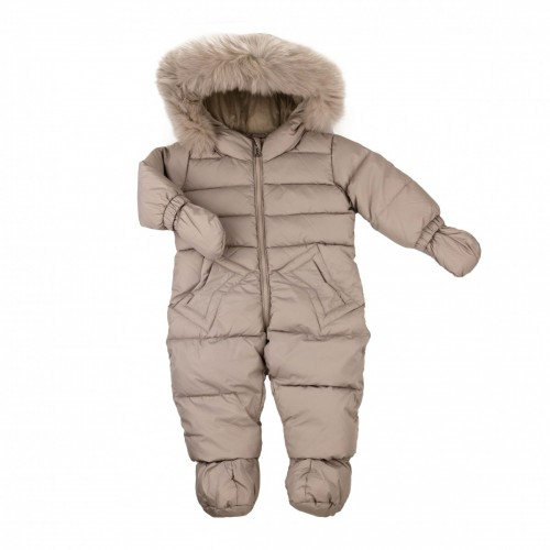 Down jumpsuit with fur ADD gray 74 cm.