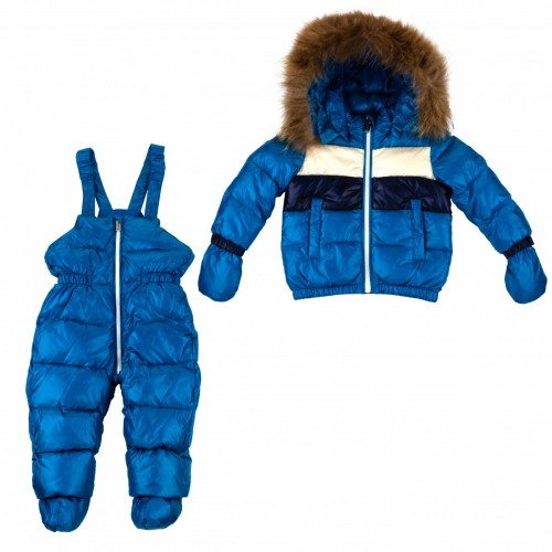 Down suit (jacket + semi-overalls) with fur ADD bright blue 2ANE11 80 cm.