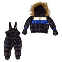 Down suit (jacket + semi-overalls) with fur ADD dark blue 2ANE11 92 cm.
