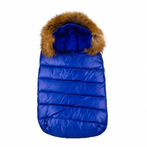 Down jacket ADD with fur bright blue 0-3 months.