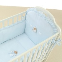 Puccio Bed Duvet Set in lightblue with long bed bumper