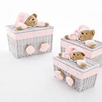 Средняя корзинка с мишкой PUCCIO розовая