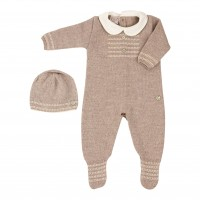 Paz Rodriguez Paz 20-21 set, a romper with a hat, beige, 1 month
