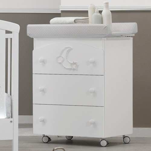 Moon Bianco changing chest of drawers with a bath