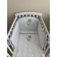 Постельный комплект для новорожденных Minibambini Зайка на шаре бело-серый